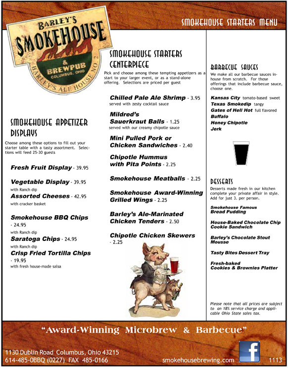 Barley's Smokehouse Banquest Starters Menu