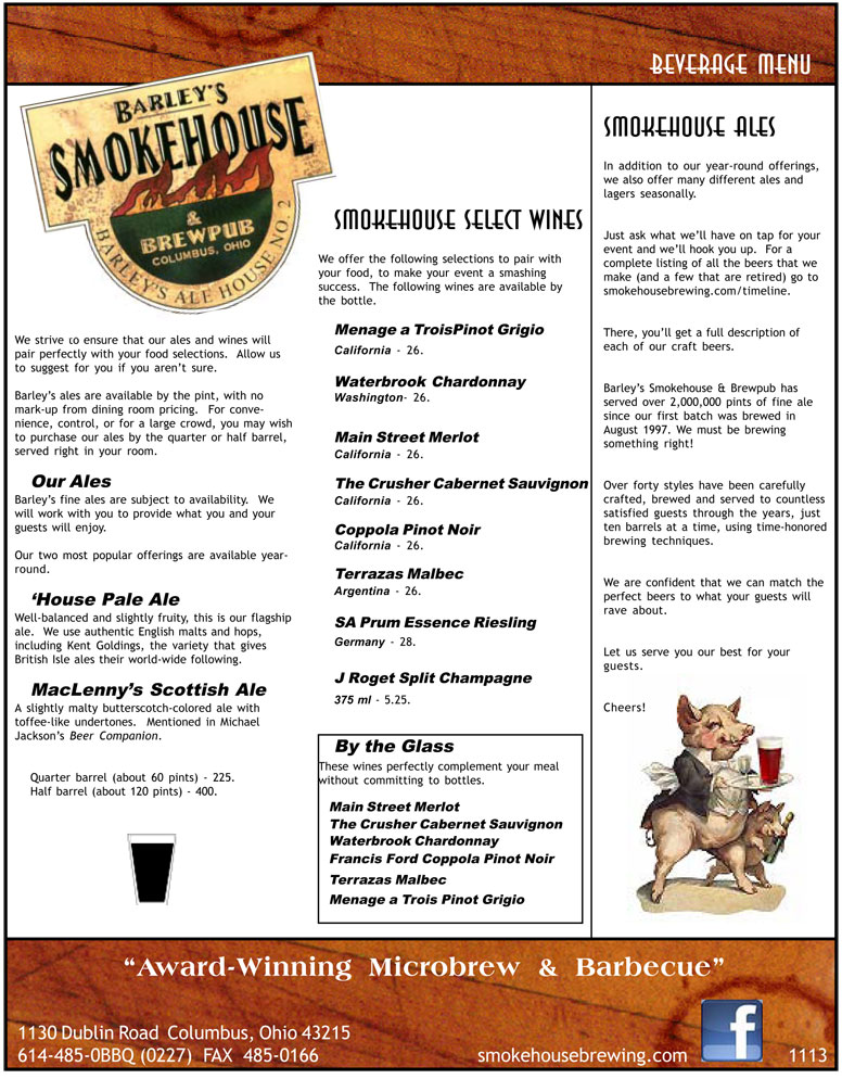Barley's Smokehouse Banquet Beverage Menu